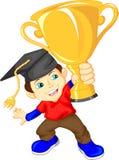 Trofeo graduado del oro que se sostiene Imagen de archivo libre de regalías