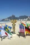 Trofeo internazionale Rio de Janeiro Brazil delle bandiere di paese di calcio Fotografie Stock Libere da Diritti