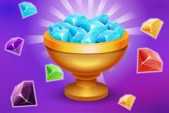 Trofeo in pieno delle gemme e dei beni dell'elemento del gioco delle pietre per la vittoria o il app della locanda illustrazione vettoriale