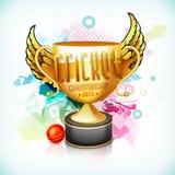 Trofeo que gana de oro para el campeonato 2015 del grillo Foto de archivo libre de regalías