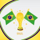 Trofeo/taza y bandera del fútbol del oro del Brasil ilustración del vector