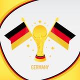 Trofeo/taza y bandera del fútbol del oro de Alemania ilustración del vector