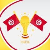 Trofeo/taza y bandera del fútbol del oro de Túnez libre illustration