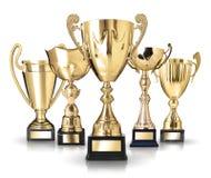 Trofeos de oro Fotografía de archivo libre de regalías