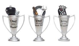 Trofeos del día de padres Imagen de archivo libre de regalías