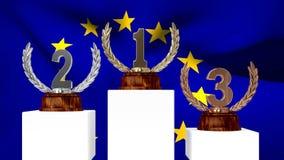 Trofeos delante de agitar la bandera europea