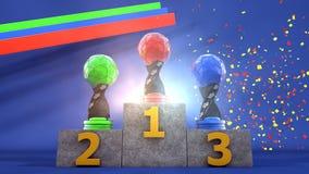 Trofeos en el podio Imagenes de archivo