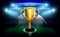 Trofeum filiżanka z tablicą wyników na zieleni stadium i pola tle Zdjęcie Royalty Free