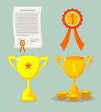 Trofeum i nagród ikony ustawiać Zdjęcia Royalty Free