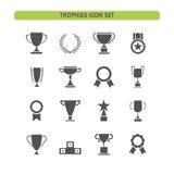 Trofeum ikony ustawiać na białym tle Obrazy Royalty Free