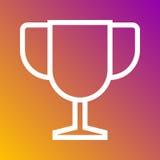 Trofeum mistrza najlepszy ikona w modnym mieszkanie stylu odizolowywającym na popielatym tle Interneta i ecommerce symbol dla twó Fotografia Royalty Free