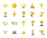 Trofeum nagrody medalu odznaki gwiazdy zwycięzcy sukcesu mistrza ikony ustalone zadziwiające wektorowe ilustracje royalty ilustracja
