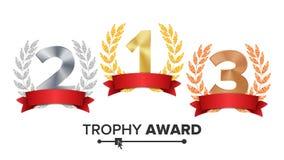 Trofeum nagrody Ustalony wektor Postaci 1, 2, 3, Jeden, Dwa, Trzy W Laurowym faborku, Realistycznego złota srebra brązu rewolucjo royalty ilustracja