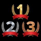 Trofeum nagrody Ustalony wektor Postaci 1, 2, 3, Jeden, Dwa, Trzy W Laurowym faborku, Realistycznego złota srebra brązu rewolucjo ilustracji