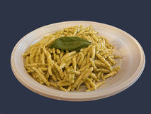 Trofie意大利种类面团用pesto调味汁 免版税库存照片