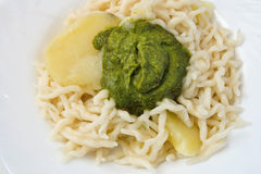 Trofie al pesto Stock Photography