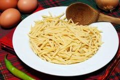 Trofie - italian pasta. Raw italian pasta called trofie Stock Photos