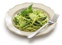 Trofie pasta with pesto, italian cuisine Royalty Free Stock Image