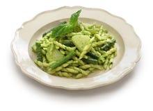 Trofie pasta with pesto, italian cuisine Stock Image