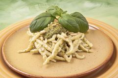 Trofie with pesto sauce Royalty Free Stock Photos