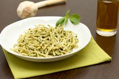 Trofie with pesto sauce Royalty Free Stock Photography