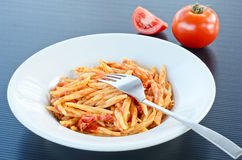 Trofie with ragù. Cooked italian pasta seasoned with ragù sauce Stock Photography
