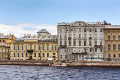 Trofimov Mansion and Chertkov`s Mansion and Profitable House at the Palace Embankment in St. Petersburg Royalty Free Stock Photos