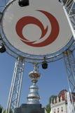 Troféu do copo de América sob o logotipo de Alinghi Fotografia de Stock