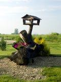 Trog voor vogels op drijfhout Royalty-vrije Stock Afbeeldingen