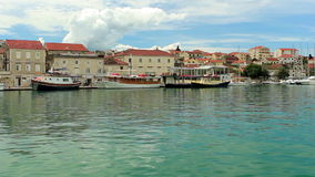 Trogir, Croatia cityscape. Ripple on water stock video