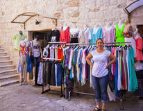 Trogir, Croatia - clothes and shirts shop in old town Royalty Free Stock Image