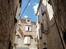 Trogir / Croatia - June 26 2017: Small yard in the downtown of Trogir royalty free stock image