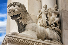 Trogir in Croatia. Lion sculpture, Cathedral church. Stock Photo