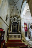 TROGIR, CROATIA, OCTOBER 01. 2017: Tourists and believer inside. The saint lawrence cathedral in Trogir Stock Images
