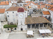 Trogir, dalmatia, croatia, europe, the clock tower and the public loggia Royalty Free Stock Photos