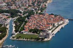 Lucht mening van Trogir oude Unescostad Stock Foto