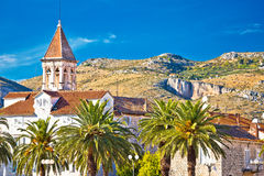 Trogir landmarks and mountain cliffs background Royalty Free Stock Images