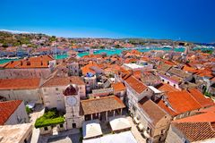 Trogir landmarks rooftops and turquoise sea view Stock Photo