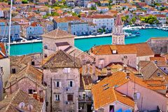 Trogir landmarks rooftops and turquoise sea view Royalty Free Stock Photos
