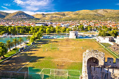 Trogir landmarks and soccer field view Royalty Free Stock Images