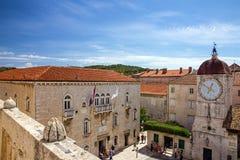 Trogir loggia square and clock tower, Croatia Stock Photography