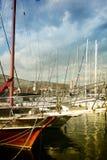 Trogir mit Booten Stockfotografie