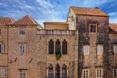Trogir old town street houses, Croatia Stock Photography