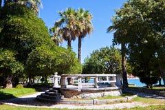 Trogir, public park on bord of the sea Stock Image