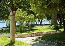 Trogir, public park on bord of the sea Stock Photography