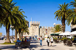 Trogir, sea promenade with medieval castle Stock Photography