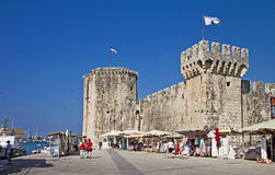 Trogir, seafront and Kamerlengo castle Stock Photo