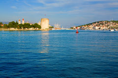 Trogir Seascape. Entrance to Trogir, Croatia port city on the Adriatic sea Royalty Free Stock Photo