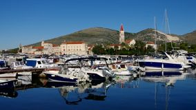 Trogir. The town Trogir and marina in Croatia stock footage