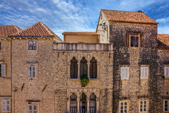 Trogir town street houses, Croatia Royalty Free Stock Images